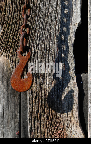 Rusted Hook on chain. - Stock Photo