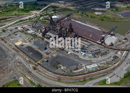 aerial view above Cleveland steel mill Cuyahoga river Ohio - Stock Photo