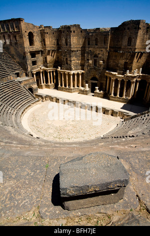 Roman theater in Bosra, Syria, Middle East - Stock Photo