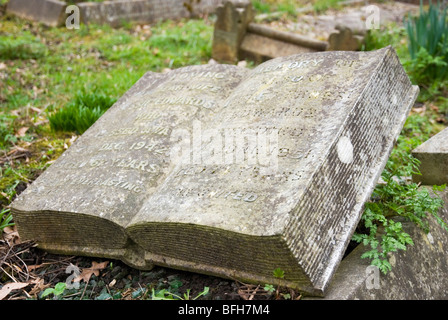 Stone book at Highgate cemetery in London England UK - Stock Photo