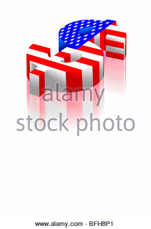 Dollar symbol with american flag painted on it rising high. - Stock Photo