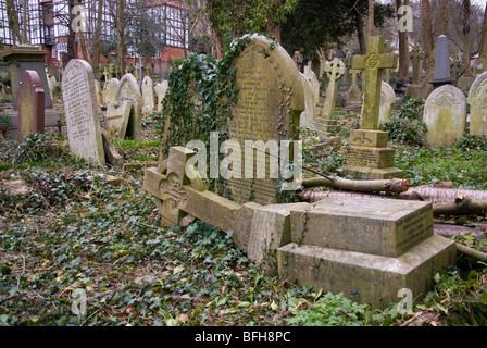 Graves at Highgate cemetery in London England UK - Stock Photo