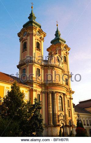 Baroque Minorite church ( Minorita Templon ) Dobo square. Eger Hungary - Stock Photo