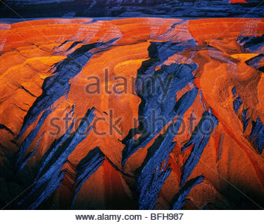 Eroding sandstone (aerial), Comb Ridge, Utah - Stock Photo