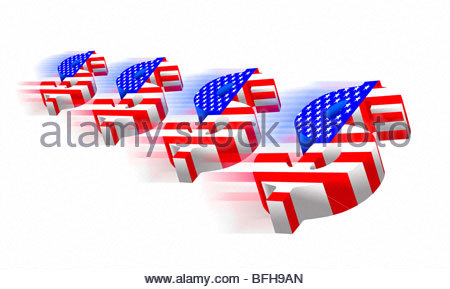 Four dollar symbols with american flags painted on them flying high. - Stock Photo