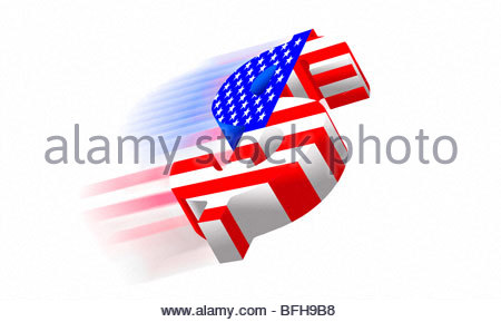Dollar symbol with american flag painted on it flying high. - Stock Photo