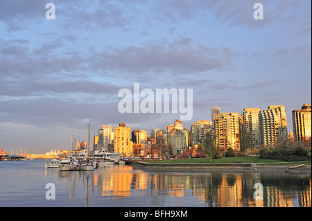 Coal Harbour looking toward downtown with Devonian Harbour Park, Vancouver, British Columbia, Canada - Stock Photo