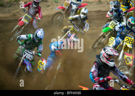 Motocross racers  Campbell River.  Vancouver Island, British Columbia, Canada. - Stock Photo