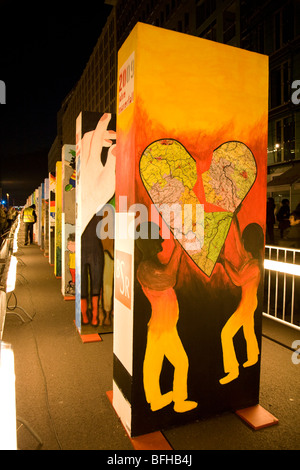 20th anniversary celebrations of the fall of the Berlin Wall in Berlin, Germany, November 2009. - Stock Photo