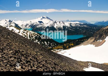 Mount Garibaldi and Garibaldi Lake viewed from the Black Tusk in Garibaldi Provincial Park near Whistler BC. - Stock Photo