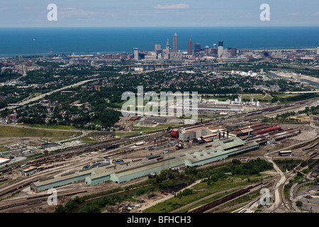 aerial view above Cleveland steel mills downtown Lake Erie Ohio - Stock Photo