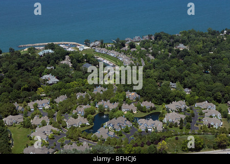 aerial view above Bratenahl wealthy suburb Lake Erie Cleveland Ohio