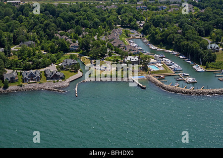 aerial view above Bratenahl marina wealthy suburb Lake Erie Cleveland Ohio
