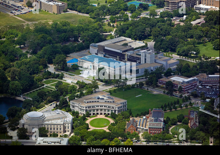 aerial view above Cleveland Museum of Art Severance Hall Kelvin Smith Library Case Western Reserve University Ohio - Stock Photo