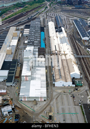 aerial view above Arcelor Mittal Cleveland Works steel mill Ohio - Stock Photo