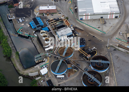 aerial view above waste water processing facility Arcelor Mittal Cleveland Works steel mill Ohio - Stock Photo