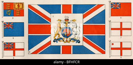 Flags and the coat of arms of Great Britain. Color lithograph - Stock Photo