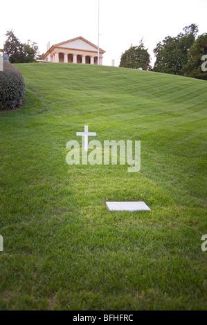 United States Senator Ted Kennedy Grave, Arlington National Cemetery, Washington DC  USA - Stock Photo