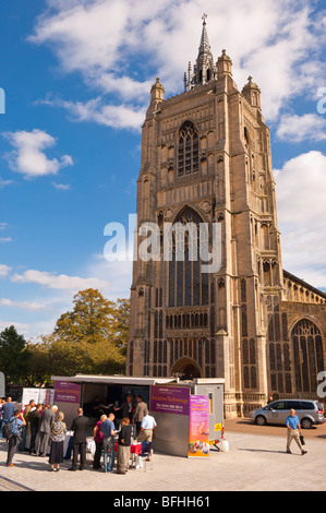 A stand advertising adult social services outside the Forum in Norwich,Norfolk,Uk - Stock Photo