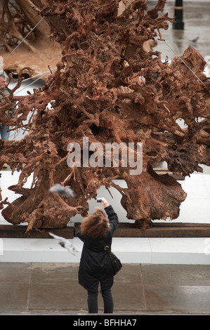 Ghost Trees exhibition by Alison Palmer at Trafalgar Square in central London - Stock Photo