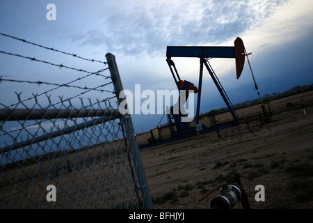 Oil pump jack in evening with fence in Alberta, Canada - Stock Photo