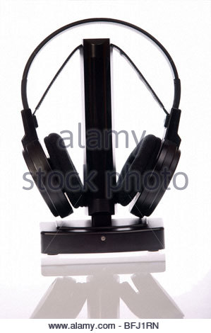 black headphones isolated on white background - Stock Photo