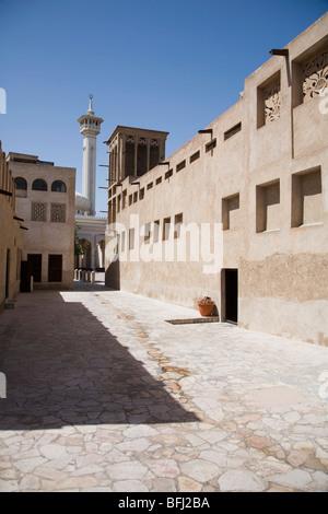 UAE, Dubai, The Bastakia Mosque in the old Bastakia Quarter of Bur Dubai - Stock Photo