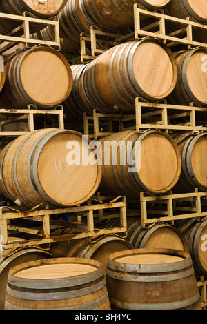 Wine Barrels In Storage, Santa Maria, California   Stock Photo