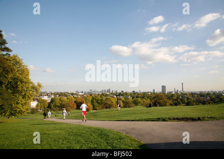 View from the top of Primrose Hill looking towards central London, UK - Stock Photo