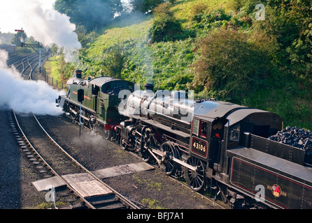 Two steam locomotives moving out of Bridgnorth sidings - Stock Photo