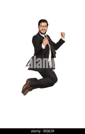 Businessman jumping of joy. - Stock Photo