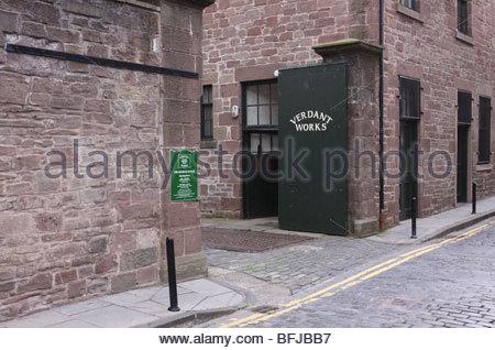 exterior of Verdant Works Jute Mill Museum Dundee Scotland  September 2009 - Stock Photo