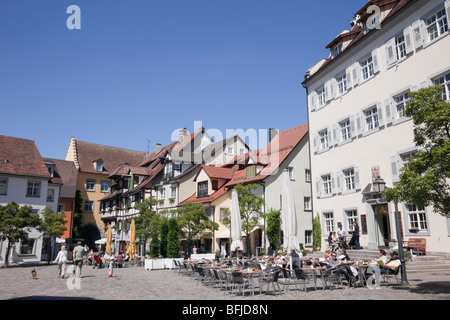 Schlossplatz (Castle square) Meersburg Baden-Wurttemberg Germany. Pavement cafes and old buildings in Oberstadt - Stock Photo