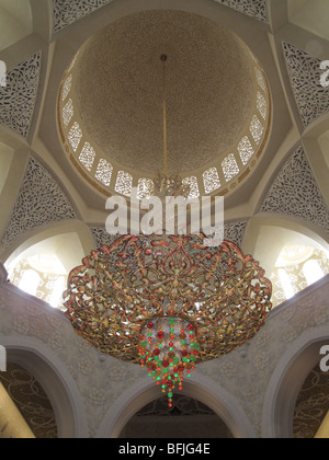 Large chandelier from the main dome of Sheikh Zayed Bin Sultan Al Nahyan Mosque - Stock Photo