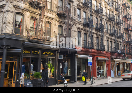 New York City , The Big Apple , Lower East Side typical tenements buildings with external fire escapes - Stock Photo