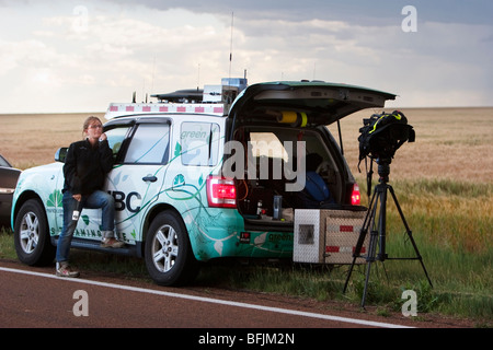 Weather Channel reporter Katy Tur in western Kansas, USA, June 10, 2009. - Stock Photo