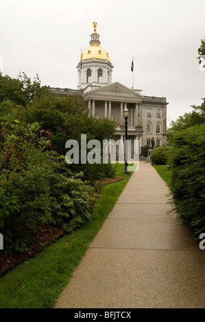 The gold dome is the most prominent architectural feature of the state house in Concord, New Hampshire, in the USA. - Stock Photo