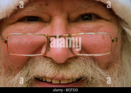 Macro of jolly real Santa Claus - Stock Photo