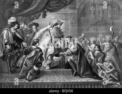 Print c1870 depicting Christopher Columbus kneeling before Ferdinand and Isabella following his first voyage to - Stock Photo