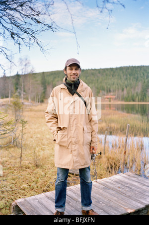 A man about to go fishing, Sweden. - Stock Photo
