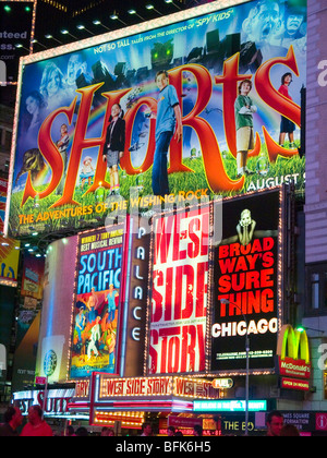 A billboard advertising Broadway shows, situated in Times Square New York City USA - Stock Photo