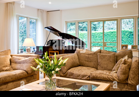 A smart modern stylish lounge, living or sitting room with a baby ...