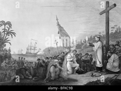 Print c1876 showing Christopher Columbus and crew praying after landing in the New World for the first time on October - Stock Photo