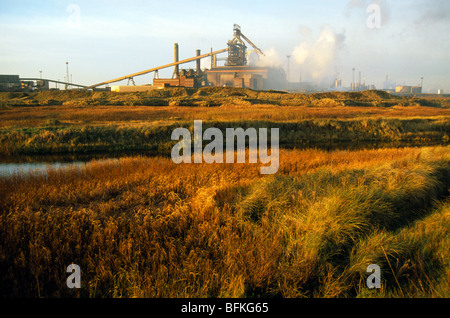Sunset, Teesside Steelworks, River Tees, Redcar, North Yorkshire, England, UK, GB. - Stock Photo