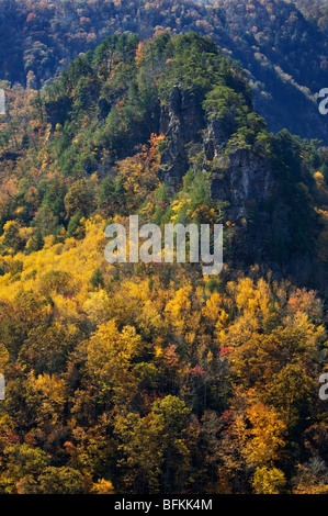Autumn Color on the Flanks of the Towers in Breaks Interstate Park in Virginia - Stock Photo