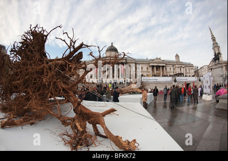 Alison Palmer's Ghost Forest exhibition in Trafalgar Square, London, UK - Stock Photo