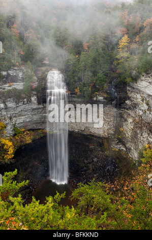 View of Fall Creek Falls and Autumn Color in Fall Creek Falls State Park, Tennessee - Stock Photo