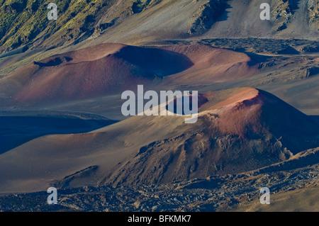 Pu'u o Pele and Pu'u o Maui cinder cones in Haleakala Crater; Haleakala National Park, Maui, Hawaii. - Stock Photo