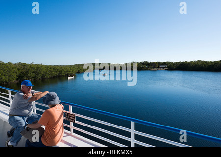 View from upper deck of Glass Bottom Boat in the Marina at John Pennekamp Coral Reef State Park, Key Largo, Florida - Stock Photo