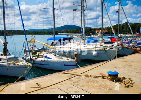 Numerous luxury yachts in Tsarevo port, Bulgaria - Stock Photo